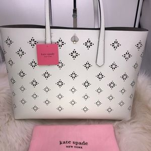 Kate Spade Molly Perforated Large Tote Optic White